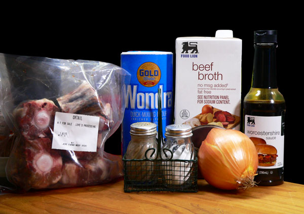 Ox Tails and Gravy, ingredients you'll need.