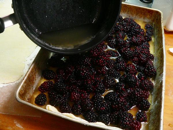 Blackberry Cobbler, add the juice.