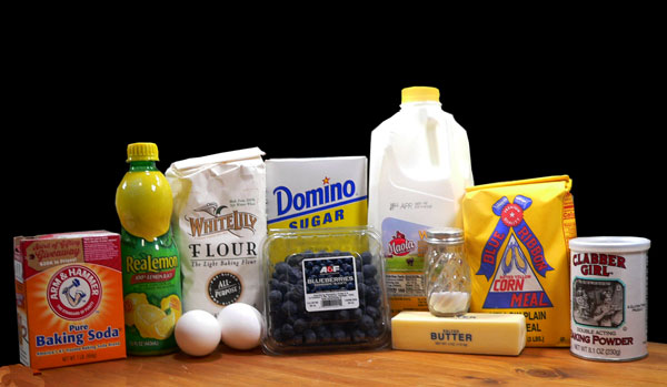 Blueberry Cornmeal Cake, ingredients.