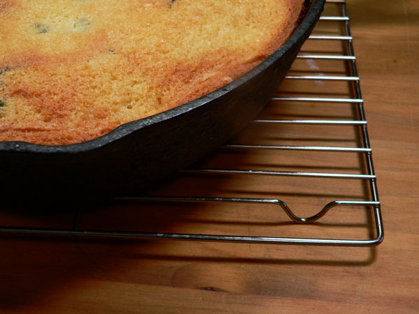 Blueberry Cornmeal Cake, wire rack to cool.