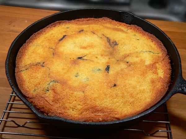 Blueberry Cornmeal Cake, didn't fall.