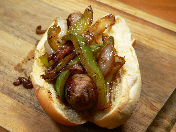 Sausage Dogs, add peppers and onions.