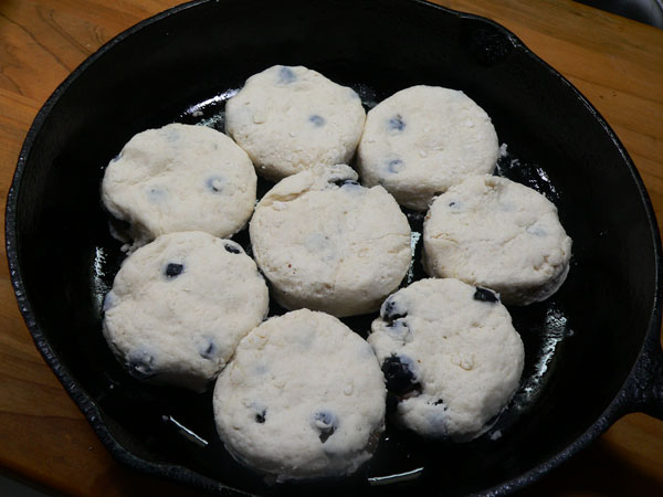 Blueberry Biscuits, place in greased skillet.
