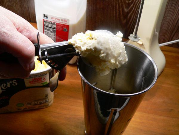 Strawberry Milkshake, add ice cream.
