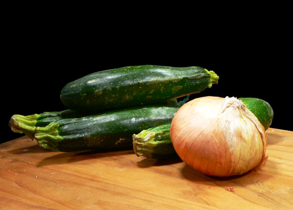 Zucchini and Onions, ingredients.